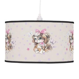 Adorable Cute Spaniel Puppy in pastel watercolor Pendant Lamp