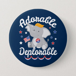Adorable Deplorable Elephant Trump 2016 3 Inch Round Button