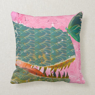 Adorable Dinosaur and Butterfly Art Throw Pillow