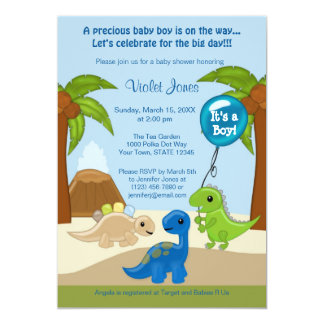 Adorable Dinosaur Baby Shower Invitations Boy