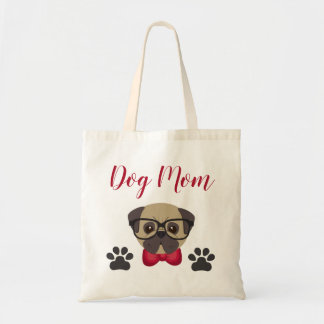 Adorable Dog Mom Tote with Bowtie & Glasses