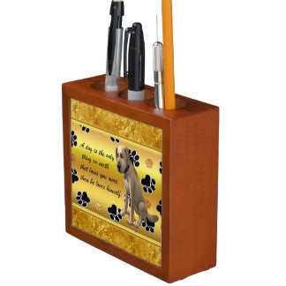 Adorable dog sitting with a cute fun quote desk organizer