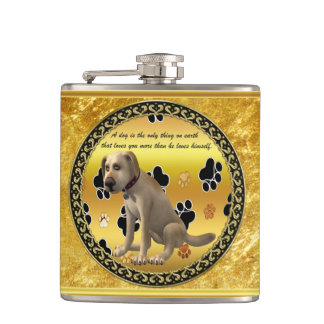 Adorable dog sitting with a cute fun quote hip flask