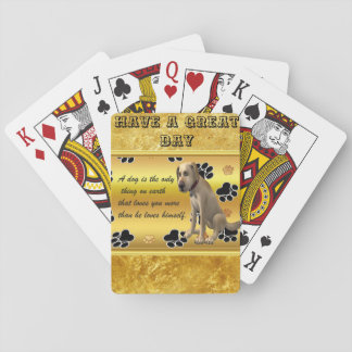 Adorable dog sitting with a cute fun quote playing cards