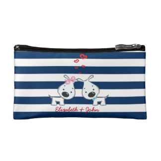 Adorable Dogs In Love on Striped-Personalized Cosmetic Bag