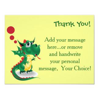 "Adorable Dragon Thank You Card 4.25"" X 5.5"" Invitation Card"