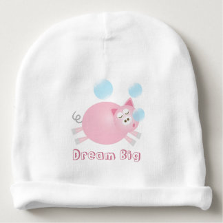 Adorable Dream Big Sleepy Pig Cartoon Baby Beanie