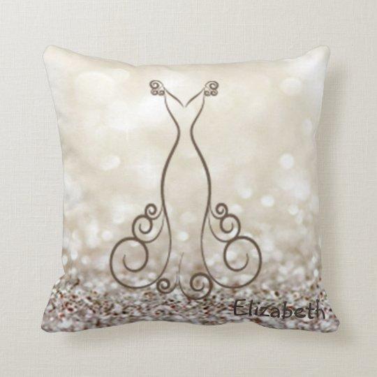Adorable Dress, Glittery Bokeh Throw Pillow