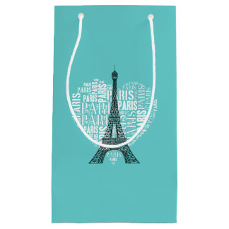 Adorable Eiffel Tower Love Paris | Aqua Small Gift Bag