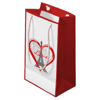 Adorable Eiffel Tower Love Paris | Red Heart Small Gift Bag