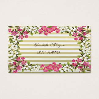 Adorable Elegant Chic Striped Flowers Business Card