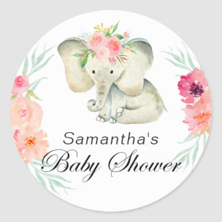 Adorable Elephant Baby Shower for Girl Classic Round Sticker