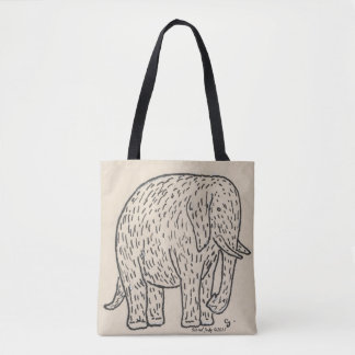 Adorable elephant, black and white, so cute! tote bag