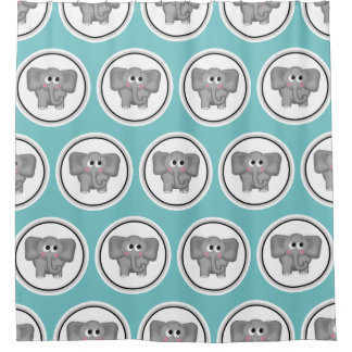 Adorable Elephant Pattern Turquoise Shower Curtain