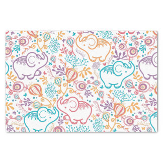 Adorable Elephants And Flowers Tissue Paper