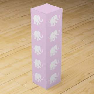 Adorable Elephants on Spreckled Baby Pink Ground Wine Box