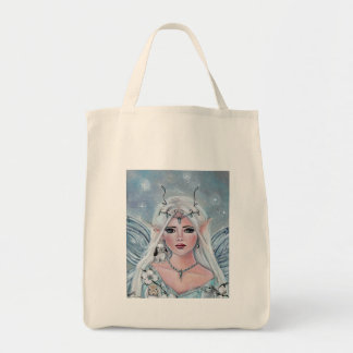 Adorable elf with bunnies totebag by Renee Lavoie