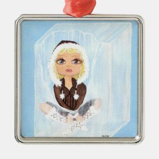 Adorable Eskimo in a cube of ice Silver-Colored Square Ornament