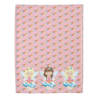 Adorable Fairy on Toadstool Print Duvet Cover