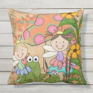 Adorable Fantasy Fairy Garden Faeries Frogs Throw Pillow