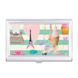 Adorable Fashion,Paris,Hearts Pattern Business Card Holder