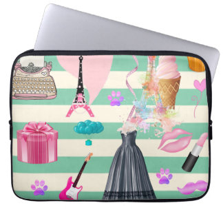 Adorable Fashion,Paris,Hearts Pattern Laptop Sleeve
