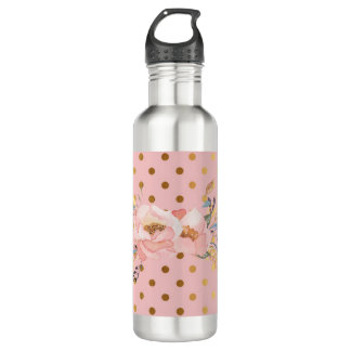 Adorable  Faux Gold Polka Dots Flowers 710 Ml Water Bottle
