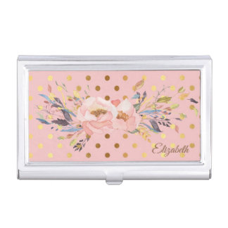 Adorable  Faux Gold Polka Dots Flowers Business Card Holder