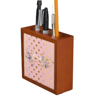 Adorable  Faux Gold Polka Dots Flowers Desk Organizer