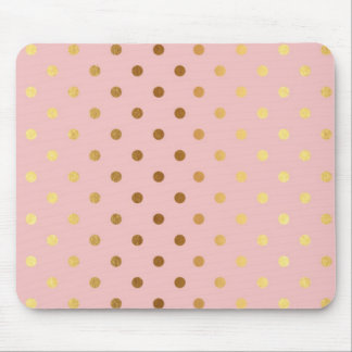 Adorable  Faux Gold Polka Dots Flowers Mouse Pad