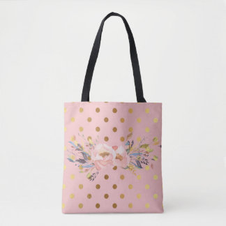 Adorable  Faux Gold Polka Dots Flowers Tote Bag