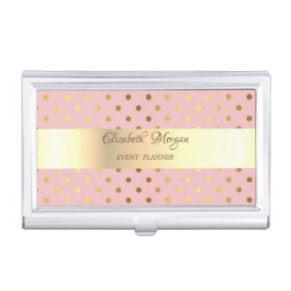 Adorable  Faux Gold Polka Dots-Personalized Business Card Holder