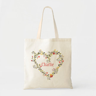 Adorable Floral Heart Wreath with Name Tote Bag