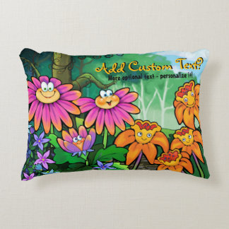 Adorable Flowers in Magic Garden. Personalize it! Decorative Pillow