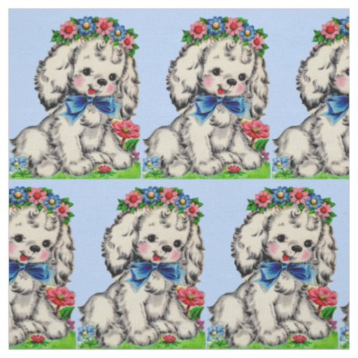 adorable fluffy white dog print fabric