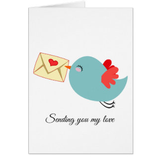 Adorable Flying Blue Bird w Letter Customizeable Card