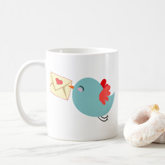 Adorable Flying Blue Bird w Letter Customizeable Coffee Mug