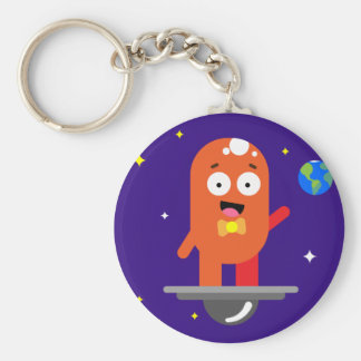 Adorable Friendly Surfing Alien Basic Round Button Keychain