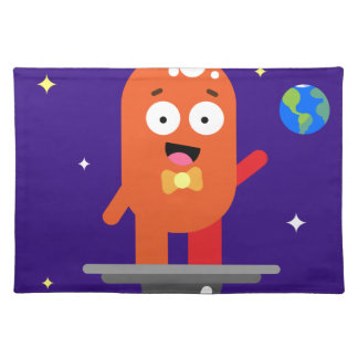 Adorable Friendly Surfing Alien Placemat