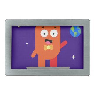 Adorable Friendly Surfing Alien Rectangular Belt Buckle