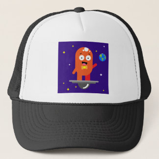 Adorable Friendly Surfing Alien Trucker Hat