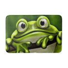 Adorable Funny Cute Green Frog In Tree Bath Mat