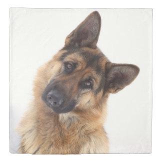 Adorable funny german shepherd portrait duvet cover