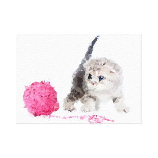 Adorable funny kitten nice Low Poly Canvas Print