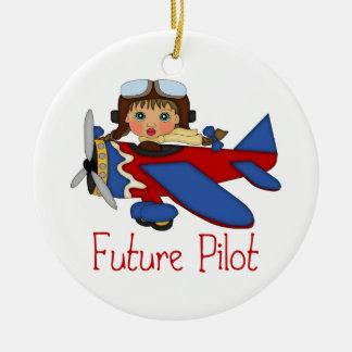 Adorable Future Pilot, Helicopter Pilot  - GIRLS Ceramic Ornament