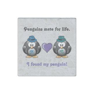 Adorable Gay Penguins Two Grooms Love Heart Hat Stone Magnets