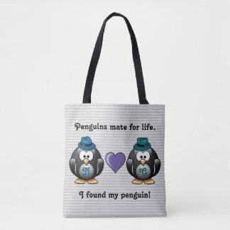 Adorable Gay Penguins Two Grooms Love Heart Hats Tote Bag