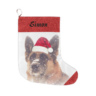 Adorable German Shepherd in Santa Hat Large Christmas Stocking