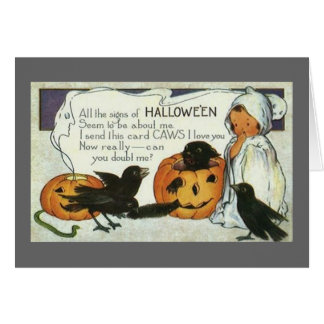 Adorable Ghost Vintage Halloween Note Card