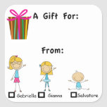 Adorable Gift Tag With 3 Kids Names Sticker